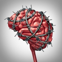 Headaches and brain with barbed wire